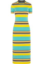Dkny Striped Ribbed Stretch Jersey Midi Dress Yellow