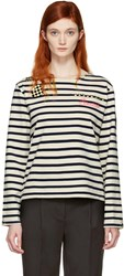 Marc Jacobs Ecru Striped Paradise Long Sleeve T Shirt