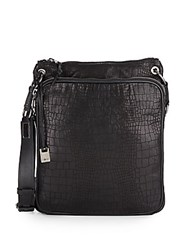 John Varvatos Croc Embossed Leather Crossbody Bag Black