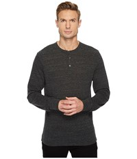 Threads For Thought Tri Blend Long Sleeved Henley Heather Black Men's Clothing