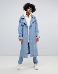 Weekday Limited Collection Denim Oversized Trench Coat Washed Blue