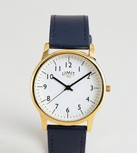 Limit Faux Leather Watch In Navy With Gold Dial Exclusive To Asos 38Mm