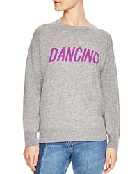 Sandro Figlio Wool And Cashmere Dancing Graphic Sweatshirt Mocked Gray
