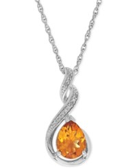 Macy's Citrine 1 1 2 Ct. T.W. And Diamond Accent Swirl Pendant Necklace In Sterling Silver Yellow