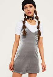 Missguided Petite Exclusive Grey Velvet 2 In 1 Cami Dress