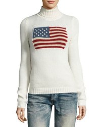 Ralph Lauren Flag Cashmere Turtleneck Cream