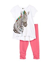 Petit Lem Wild Safari Zebra Print Tee And Leggings Set White Pink