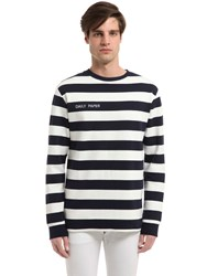 Daily Paper Navy Striped Cotton T Shirt