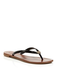 Tory Burch Terra Thong Patent Leather Flip Flop Sandals Black