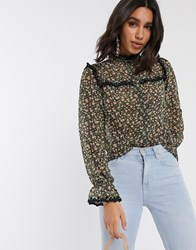 Y.A.S Shirt With Lace Trim In Floral Print Cream