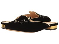 Charlotte Olympia Kitty Slipper Black Gold Velvet Metallic Calfskin