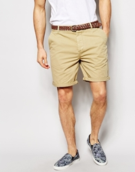 Asos Chino Shorts With Belt In Mid Length Stone