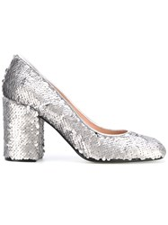 Pollini Sequins Embellished Pumps Women Calf Leather Leather Polyester 38.5 Grey