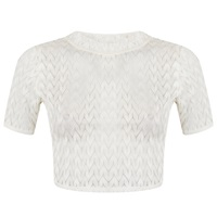 Miss Selfridge Petite Crop Lace Top Ivory