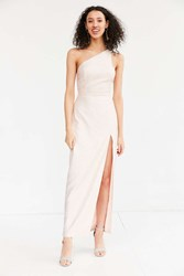 Silence And Noise Metallic One Shoulder Maxi Dress Pink