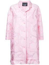 Boutique Moschino Leaf Patterned Ruffle Hem Coat Women Cotton Nylon Polyester 44 Pink Purple