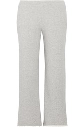 Simon Miller Canal Frayed French Cotton Terry Track Pants Light Gray