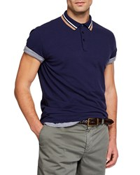Brunello Cucinelli Double Stripe Short Sleeve Polo Shirt Blue