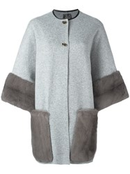 Agnona Contrast Detail Coat Grey