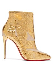 Christian Louboutin Booty Cap 100 Creased Foil Perspex Ankle Boots Gold