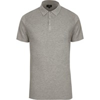 River Island Grey Waffle Slim Fit Polo Shirt