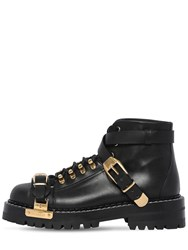 Versace 25Mm Biker Leather Ankle Boots Black