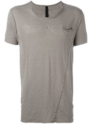 Poeme Bohemien Shredded Trim Front Pocket T Shirt Grey