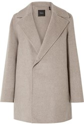 Theory Wool And Cashmere Blend Coat Taupe