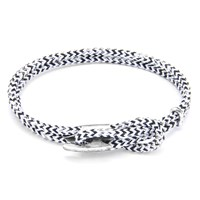 Anchor And Crew Padstow Rope Silver Braceletwhite Noir 21Cm