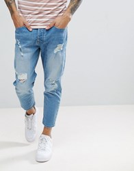 Solid Tapered Cropped Jeans Blue