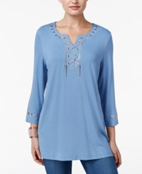 Jm Collection Lace Up Studded Tunic Only At Macy's Quiet Harbor Combo