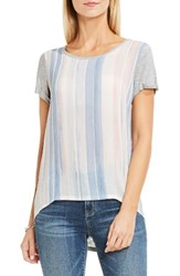 Vince Camuto Women's Two By Paintwash Stripe Mixed Media Tee