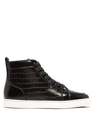 Christian Louboutin Rantus Crocodile Effect High Top Leather Trainers Black