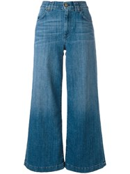 7 For All Mankind Cropped Wide Leg Jeans Blue