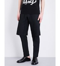 Comme Des Garcons Layered Mid Rise Twill Trousers Black