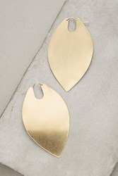 Anthropologie Brass Leaf Duo Hoops Gold