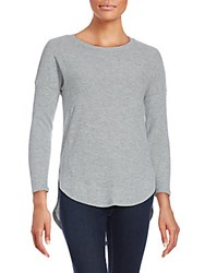 Red Haute Ribbed Hi Lo Hem Sweater Heather Grey