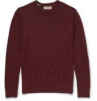 Burberry Check Trimmed Cashmere Sweater Burgundy