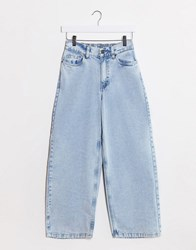Noisy May Wide Leg Jeans With High Rise In Light Blue Wash