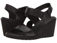 Ecco Freja Wedge Strap Sandal Black Cow Nubuck Women's Sandals