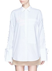 Ych Lace Up Sleeve Stripe Oversized Shirt Multi Colour