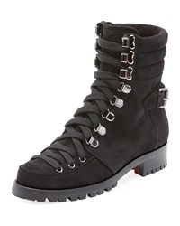 Christian Louboutin Who Runs Flat Suede Red Sole Hiking Bootie Black