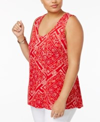 American Rag Trendy Plus Size Floral Stripe Tank Top Only At Macy's True Red Combo