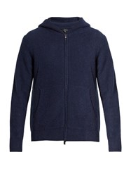 Vince Zip Through Hooded Cashmere Knit Sweater Navy