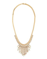 Fragments For Neiman Marcus Fragments Crystal Tapered Fringe Bib Necklace White