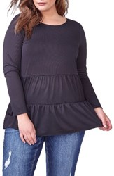 Addition Elle Love And Legend Plus Size Women's Tiered Babydoll Top