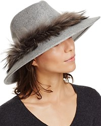 Aqua Fedora With Asiatic Raccoon Fur Trim Gray