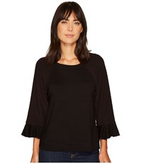 B Collection By Bobeau Peggy Ruffle Sleeve Sweatshirt Black Women's Sweatshirt