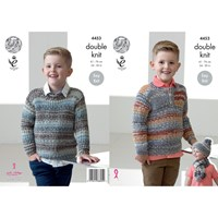 King Cole Drifter Dk Children's Jumpers Hat And Scarf Knitting Pattern 4453