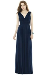 Women's Alfred Sung V Neck Pleat Chiffon Knit A Line Gown Midnight